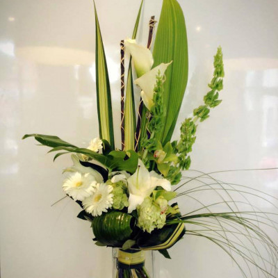 Bouquet allongé blanc